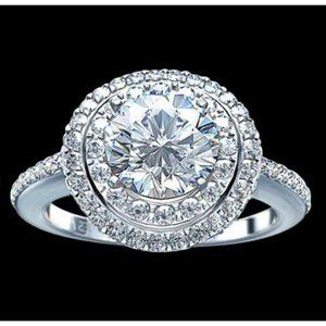 2.25 ct. Halo diamonds engagement ring white gold